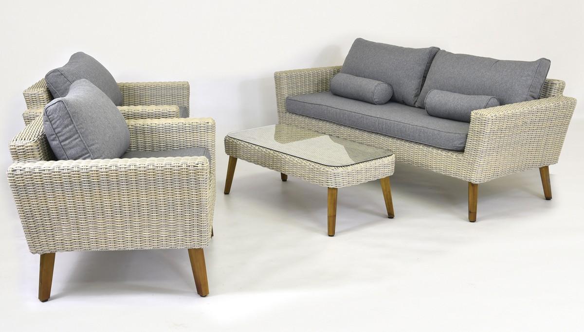 Ratanové sedenie (ratanový stôl + 2 x ratanové kreslo + 1 x ratanová lavica )