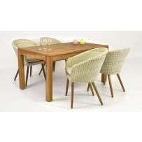 Sedenie do záhrady (Stôl teak 160x90 + 4 x moderné ratanové kreslo THEO)